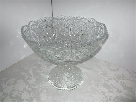 punch bowl glass crystal antique pinwheel stand starburst eapg