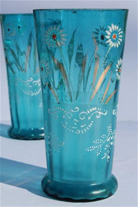 antique blue glass lemonade set tall pitcher tumblers