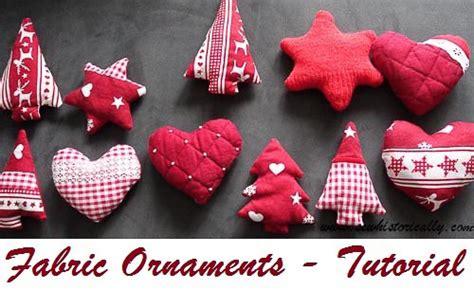 tutorial fabric ornaments heart star tree sew