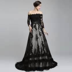 the shoulder sleeve lace a line wedding dress black dresscab - Black Sleeve Wedding Dresses