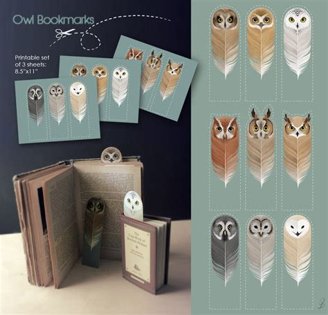 printable owl bookmarks  harry potter fans