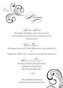 free wedding menu templates black swirl wedding menu