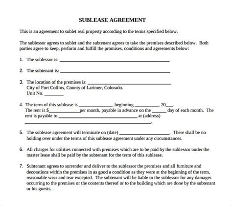 sample basic lease agreement  documents