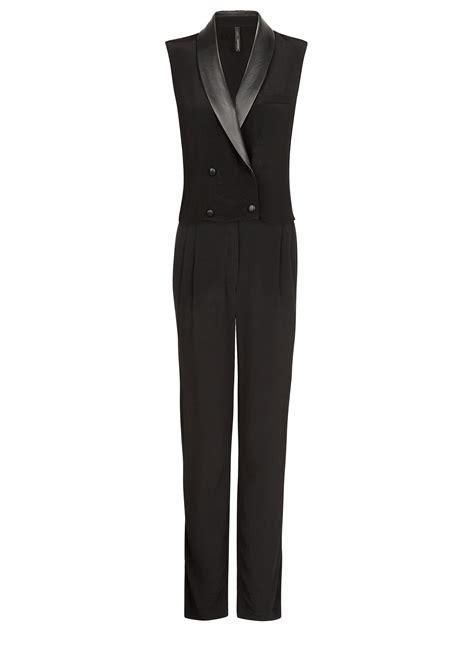 tuxedo jumpsuit mango tuxedo style jumpsuit in black lyst