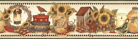 country wallpaper borders for kitchen green country sunflower crock wallpaper border hah15062b 8481