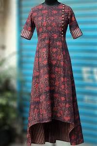 Asymmetrical Dress Designs Maaticrafts Red Printed High Low Kurti Cotton Kurti