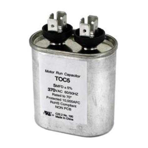 fan capacitor home depot packard 370 volt 5 mfd motor run oval capacitor toc5 the