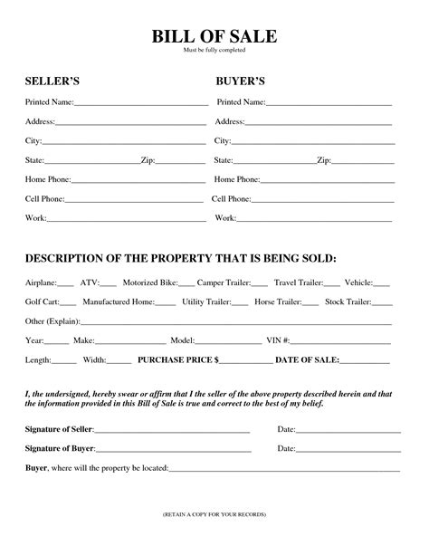 bill template bill of sale sle document mughals