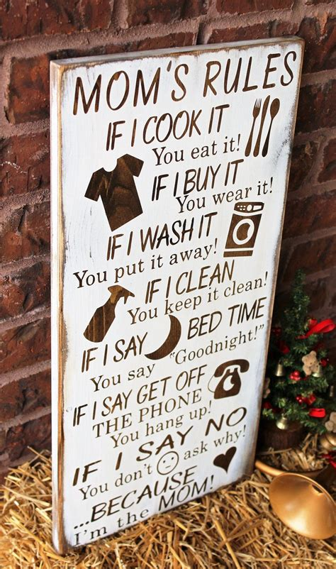 moms rules rustic wood sign diy gifts  mom signs