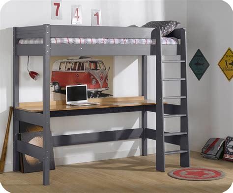 bureau de lit lit mezzanine clay gris anthracite avec bureau