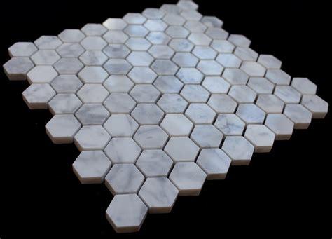 italian white carrara  hexagon tumbled mosaic tile