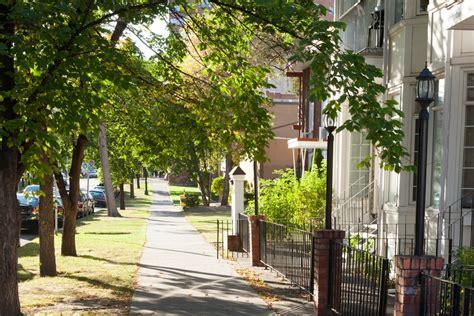 Trees Pedestrian Landscape Urban Picturesque Sidewalk