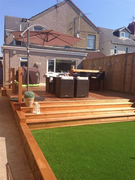 garden astro turf grass cedar wood decking hot tub