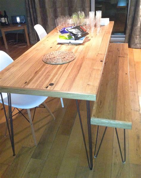 oak dining table reclaimed timber hairpin legs  wicked