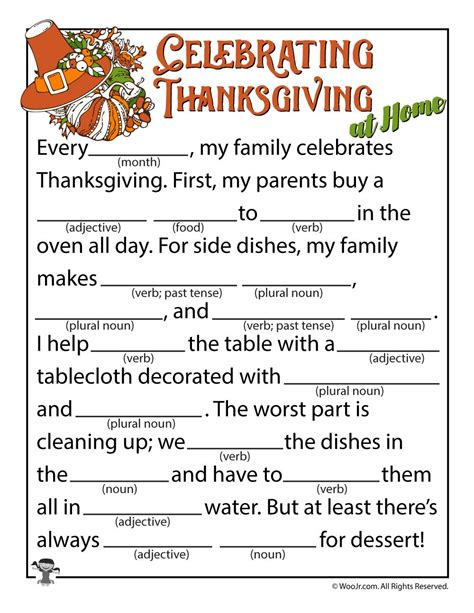 celebrating thanksgiving mad lib woo jr kids activities