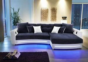 Couch Mit Led Und Sound : ecksofa in wei kunstleder und blau microfaser inkl multimediapaket und led beleuchtung 2 ~ Bigdaddyawards.com Haus und Dekorationen