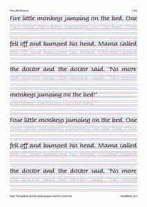 Cursive W Italic Handwriting Five Little Monkeys Italic