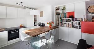 amenagement appartement sur plan contemporain salle a With exceptional idee deco jardin contemporain 5 dilemme deco saloncuisine ouverte