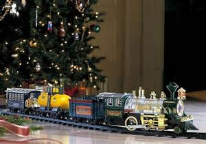 traditional christmas toy train set with sound smoke xmas tree deco
