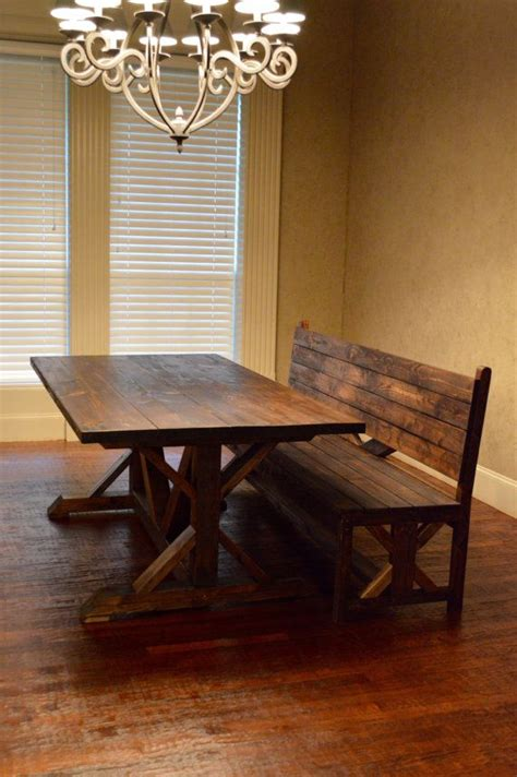 matching rustic bench    rnbwoodworks  etsy
