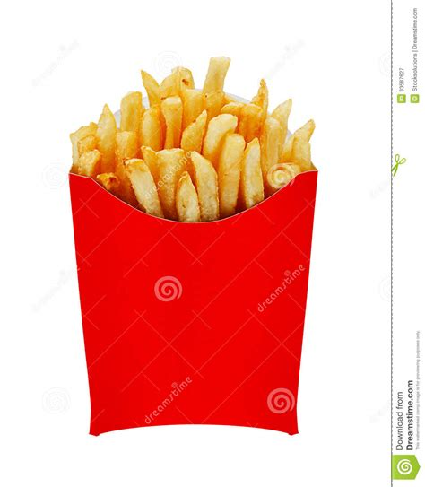 box of chips medium fries in box isolated on white stock image image 33587627