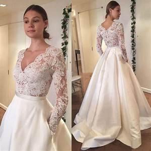 Aliexpresscom buy satin skirt wedding dress 2017 v neck for Long sleeve v neck wedding dress
