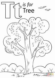 Letter T Is For Tree Coloring Page Free Printable Coloring Pages