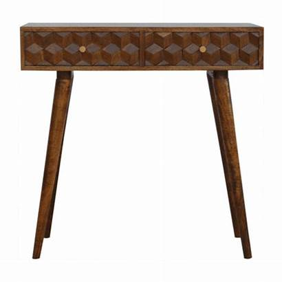Carved Cube Console Chestnut Drawers Furniture Oak