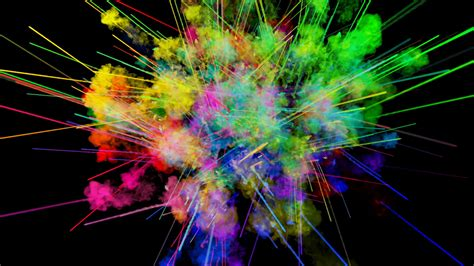 Explosion Of Powder Isolated On Black Background. 3d