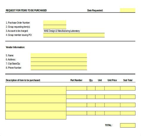 purchase order templates   sample