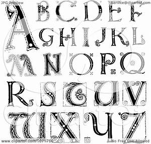 clipart black and white capital vintage styled alphabet With picture letters free