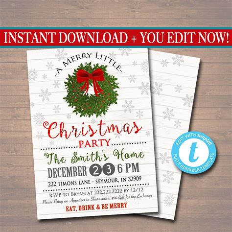 editable christmas party invitation rustic holiday party
