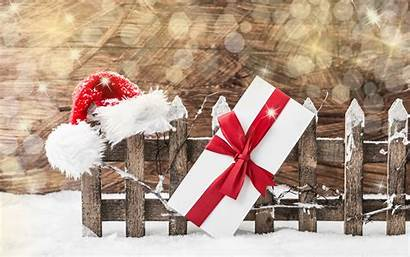 Santa Christmas Winter Snow Backgrounds Fence Presents