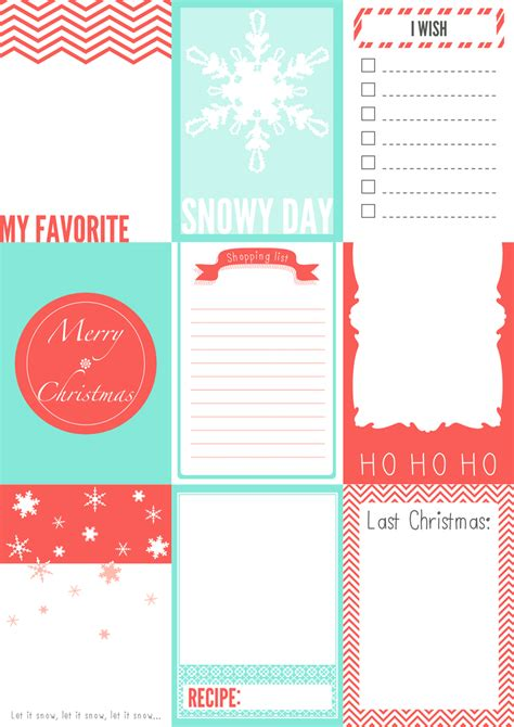 free printable christmas journaling cards for your secret