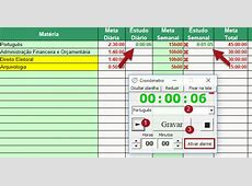 Planilha de estudos no Excel; aprenda como fazer