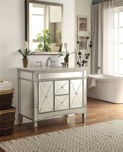 Adelina 44 Inch Mirrored Bathroom Vanity White Marble Top