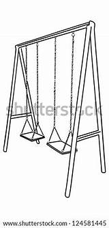 Swing Vector Playground Shutterstock Children Bicycle Frame Chandelier Outline sketch template