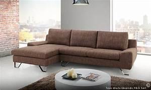 Canapé D Angle Gris Pas Cher : canape d 39 angle moderne tissu finition marron kent ~ Melissatoandfro.com Idées de Décoration
