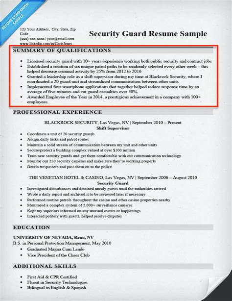 Resume Summary Of Qualification by How To Write A Summary Of Qualifications Resume Companion