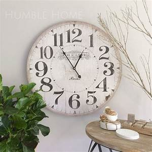 Large 60cm Vintage Look White Wall Clock - Humble Home