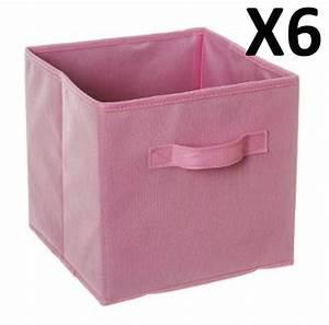 Panier Cube De Rangement : lot de 6 paniers cube de rangement pliable rose clair dim l 24 x p 24 x h 23 ebay ~ Teatrodelosmanantiales.com Idées de Décoration