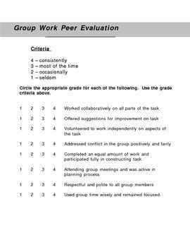Group Work Peer Evaluation Form | Group work, Group and
