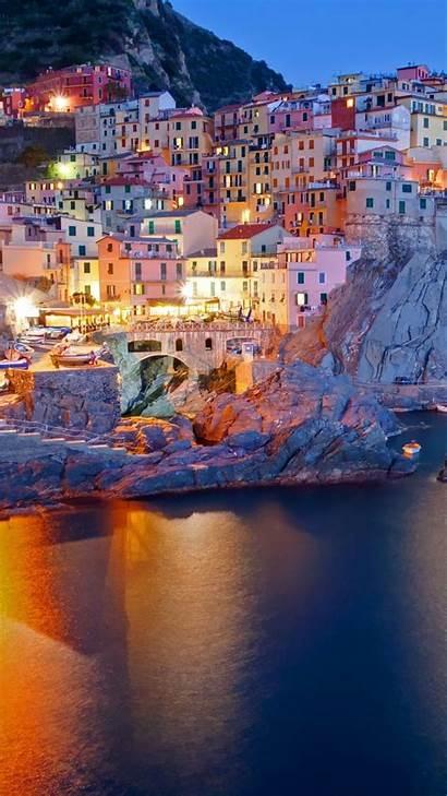 Iphone Italian Italy Wallpapers Manarola Night Sunset
