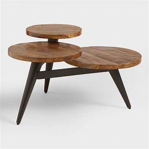 Wood and metal multi level coffee table world market for Two small tables instead of coffee table