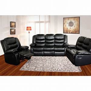 3 seat bonded leather recliner lounge sofa in black buy With black leather 5 seat recliner sectional sofa
