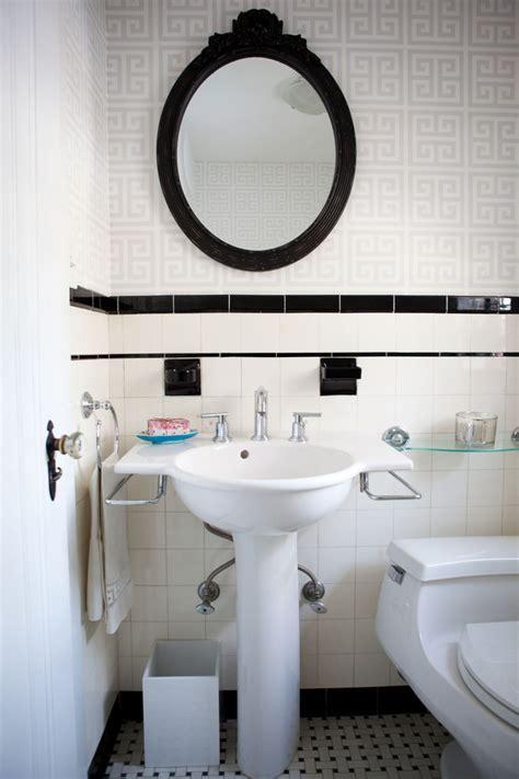 art deco tile Bathroom Modern with built in shower shelves
