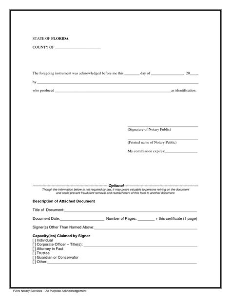notarized document template best photos of notary sle forms notary forms templates florida notary