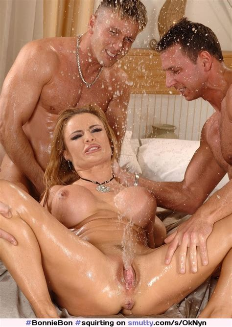 Squirting Squirt Blonde Mmf Threesome Asshole Pussy