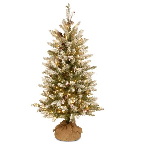 dunhill christmas tress home depot fir christimas trees national tree company 4 ft dunhill fir burlap artificial tree with clear lights duf3