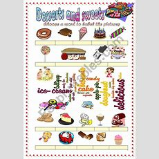 Desserts And Sweets Vocabulary (word Mosaic Included)  Esl Worksheet By Damielle
